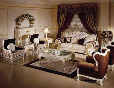 Brown Ethnic European Living Room Design