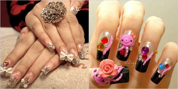 Elegant And Beautiful Japanese 3D Nail Art Designs