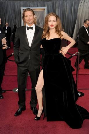 Angelina Jolie Brad Pitt in 2012 Oscars Red Carpet