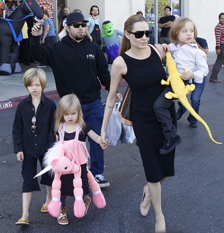 Angelina Jolie buys Halloween costumes with her kids at a Halloween