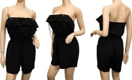 Black Rompers for Women Plus Size – Strapless Ruffled