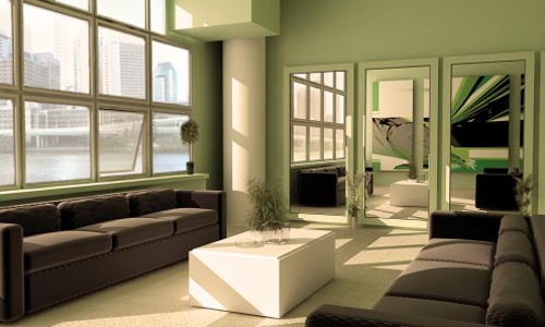 Green Living Rooms Design by Michael Johnson