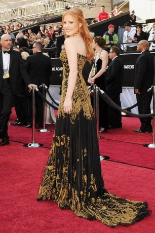 Jessica Chastain in 2012 Oscars Red Carpet
