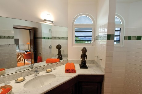 Luxury bathroom in traditional style shower and sink with large mirror