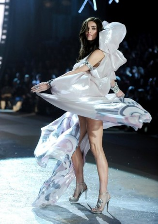 Model Hilary Rhoda walks the runway during the 2012 Victoria's Secret Fashion Show
