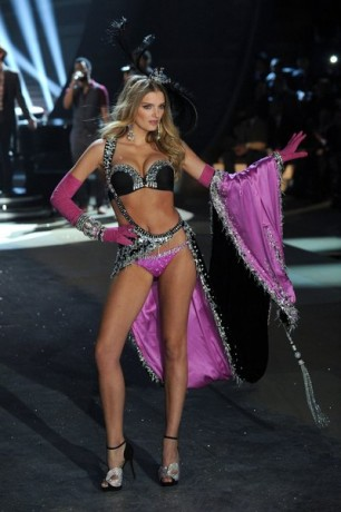 Model Lily Donaldson walks the runway during the Victoria's Secret 2012 Fashion Show