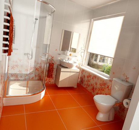 Modern bathroom design shower cabin with glass walls toilet bowl and sink