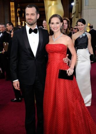 Natalie Portman Benjamin Millepied  in 2012 Oscars Red Carpet