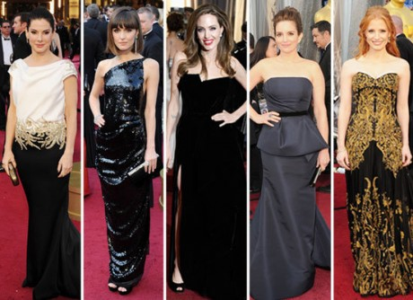 Oscars, with Angelina Jolie leading the way in a sexy slitted velvet