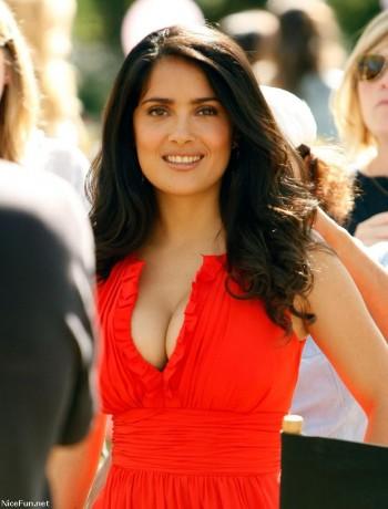 Salma Hayek red dress