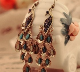 Vintage Peacock Shape National Drop Earrings for Women