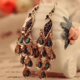 Vintage Peacock Shape National Drop Earrings for Women