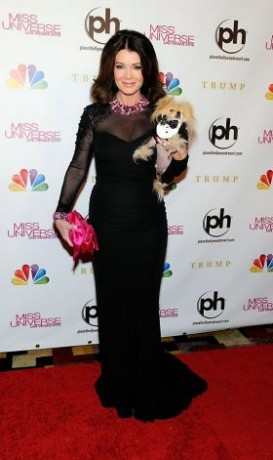Television personality and pageant judge Lisa Vanderpump and her dog Giggy