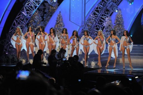 Miss USA, Olivia Culpo (C) and other contestants walk on stage during the Miss Universe Pageant