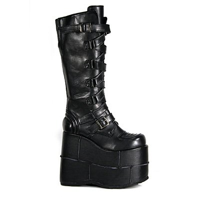 Mens Black Leatherette Buckle Platform Boot