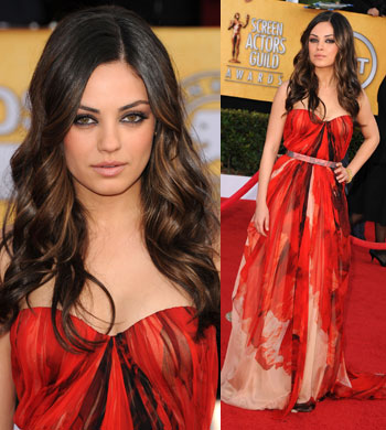 Mila Kunis Alexander McQueen 2011 SAG Awards Fashion Red Carpet Awards