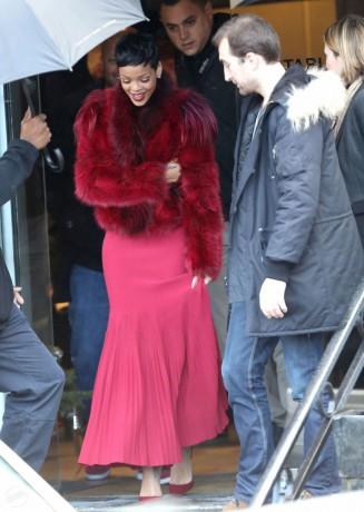 RIHANNA Hot Red Coat