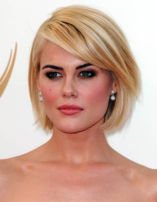 Rachael Taylors Long Sideswept Bangs Paired With Bob Hair Style