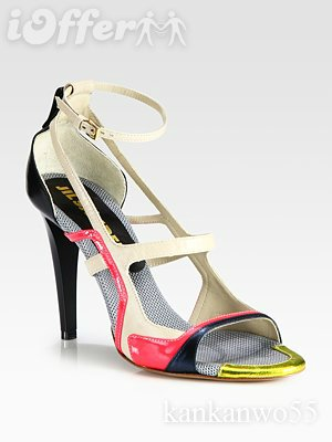jil sander mixed media strappy sandals