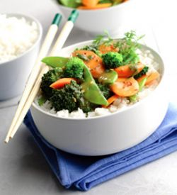 Steamed Vegetables Over White Rice