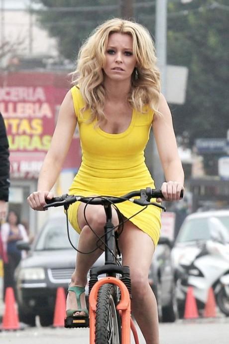 Elizabeth Banks Cycling Hot Yellow dress