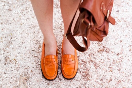 Penny Loafer Orange Color Flat Shoes
