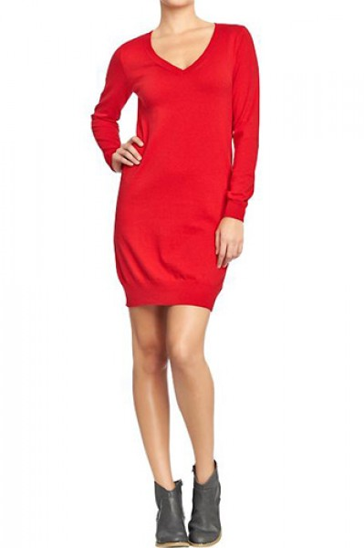 Chic Sweater Dresses Collection 2013 Hot Red Dress Image