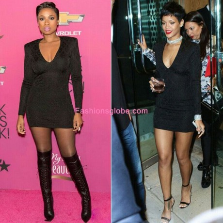 Jennifer Hudson vs Rihanna in Balmains Long Sleeve Black Fitted Dress