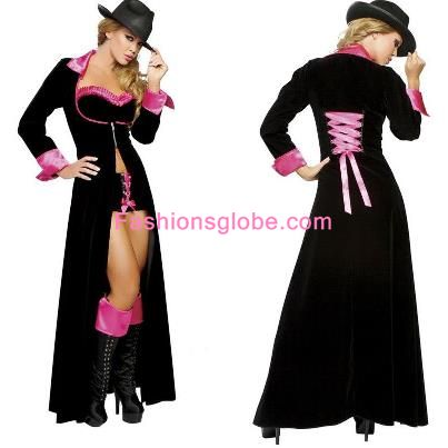 Red and Black Lace Up Christmas Costume