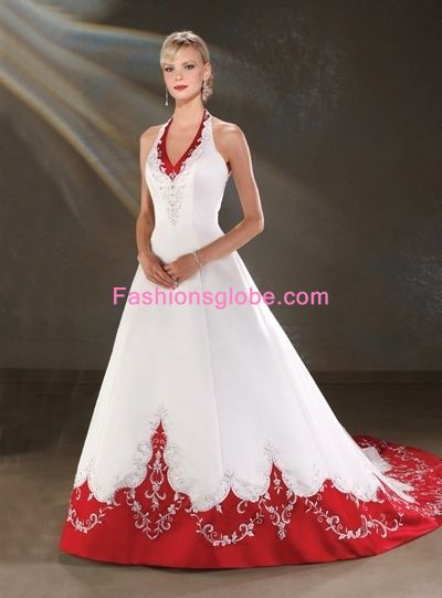 White and Red Christmas Wedding Gown