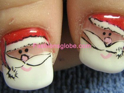 Santa Cap Nail Art Glitter Designs
