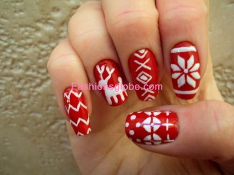 Red And White Combination Christmas Nail Art Designs