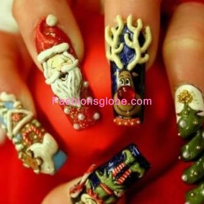 Christmas Latest Nails Art Glitter Designs 2013