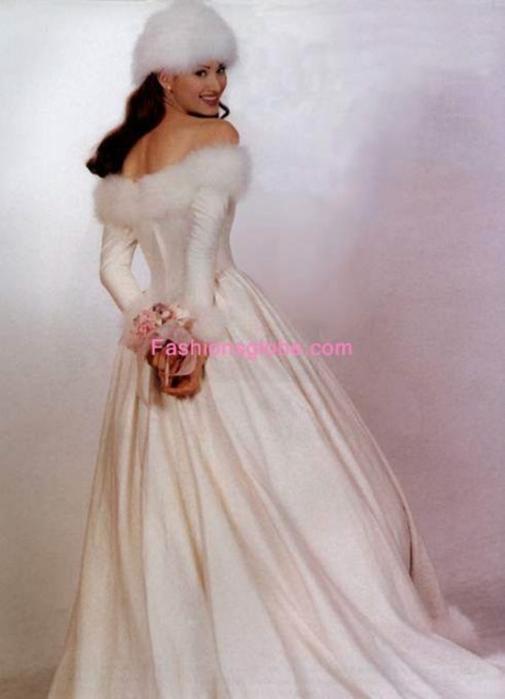 winter wedding Gown Dress with sleeves
