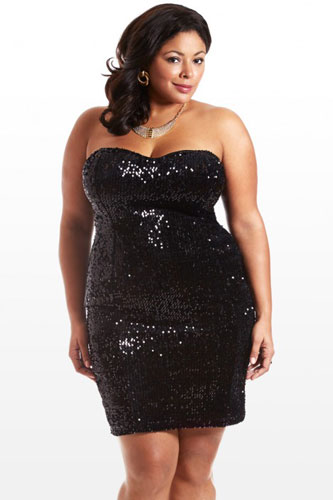 Plus Size Model Black Dress Image