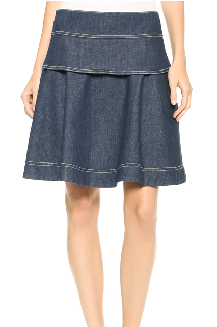 Black Color Denim Skirts Images