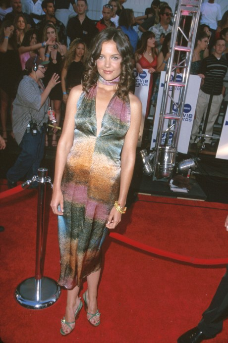 Katie Holmes Dressed in Edgy Black Dress At DuJour Magazine