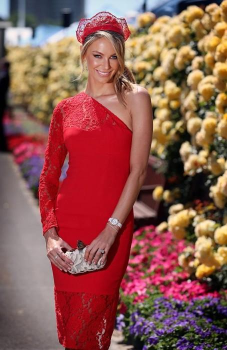 Jennifer Hawkins Red on Red Race Wear Delicate Look