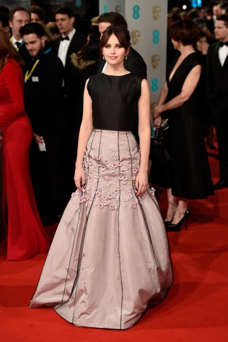 Felicity Jones Baftas Awards 2015 Red Carpet Pictures
