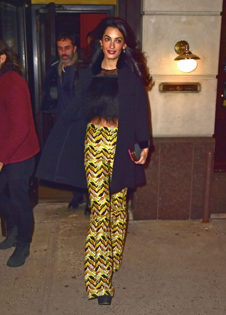 Amal Paired Her Shimmering High Waist Pants From Giambattista Valli